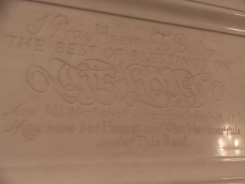 Prayer of John Adams inscribed on East Wing mantlepiece.